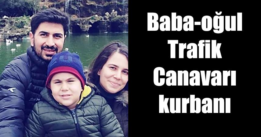 Trafik kazasında hayatını kaybeden polis memuru ve oğlu son yolculuklarına uğurlandı