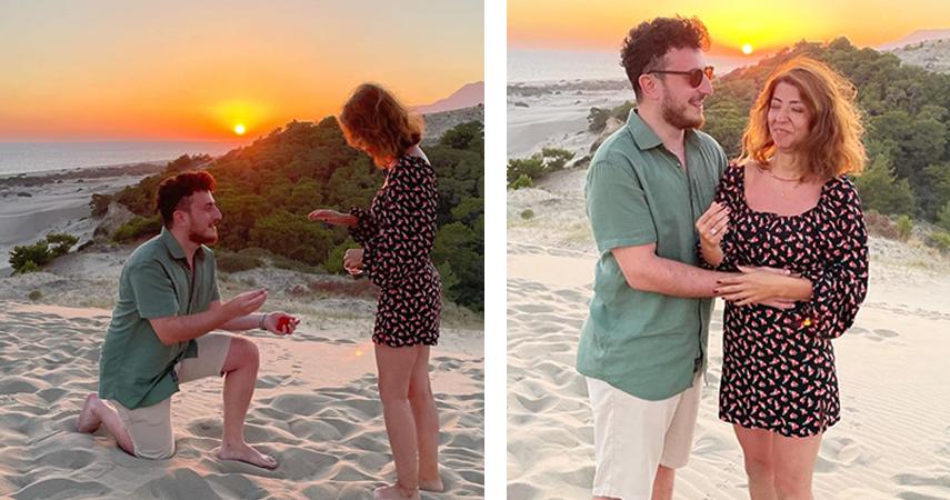 Patara'da gün batımında evlilik teklifi