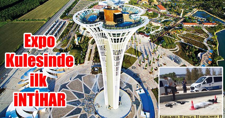 109 metrelik Expo Kulesinden aşağıya atladı